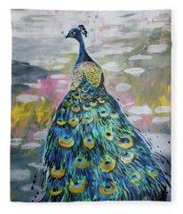 Peacock In Dappled Light Fleece Blanket