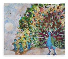 Peacock In Morning Mist Fleece Blanket
