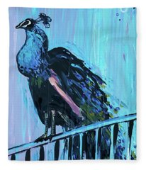 Peacock On A Fence Fleece Blanket