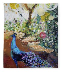 Peacock On Path Fleece Blanket