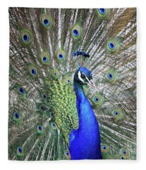 Peacock Portrait Fleece Blanket