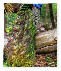 Peacock Watching Fleece Blanket