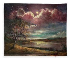Pearl Of The Night Fleece Blanket