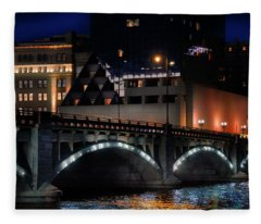 Pearl Street Bridge Grand Rapids  Fleece Blanket