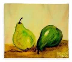 Pears In Watercolors Fleece Blanket