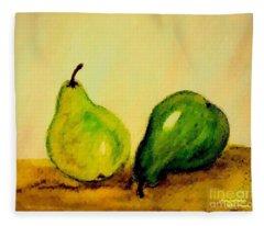 Pears In Watercolors Fleece Blanket