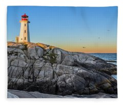 Peggys Cove Lighthouse Fleece Blanket