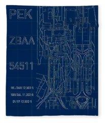 Pek Beijing Capital Airport Blueprint Fleece Blanket