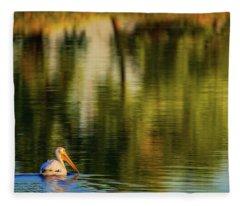 Fleece Blanket featuring the photograph Pelican In Sunlight by John De Bord