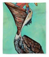 Pelican On The Edge Fleece Blanket