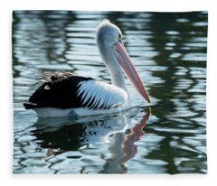 Pelican On The Lake Fleece Blanket