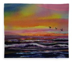 Pelican Sunrise  Fleece Blanket