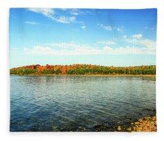 Peninsula Shore In Fall Fleece Blanket