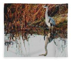 Pensive Heron Fleece Blanket