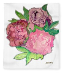 Peonie Roses Fleece Blanket