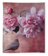 Peonies And Blackbird Fleece Blanket