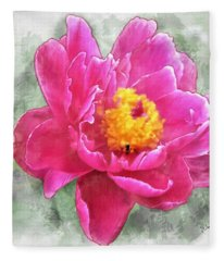 Peony And Bee Fleece Blanket