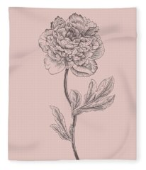 Peony Blush Pink Flower Fleece Blanket