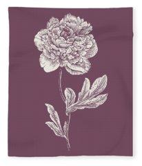 Peony Purple Flower Fleece Blanket