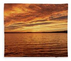 Percy Priest Lake Sunset Fleece Blanket