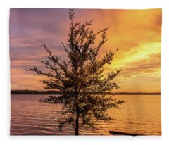 Percy Priest Lake Sunset Young Tree Fleece Blanket