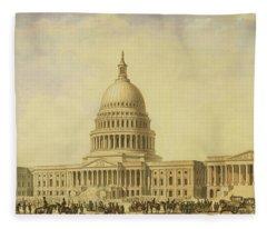 Perspective Rendering Of United States Capitol Fleece Blanket