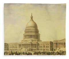 Perspective Rendering Of United States Capitol Fleece Blanket