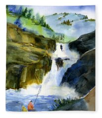 Petroglyph Falls Fishing Fleece Blanket