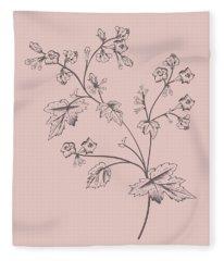 Phacelia Blush Pink Flower Fleece Blanket