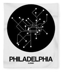 Philadelphia Black Subway Map Fleece Blanket