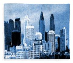 Philadelphia Blue - Watercolor Painting Fleece Blanket
