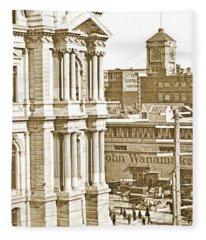 Philadelphia City Hall And Wanamaker Store C 1900 Vintage Photog Fleece Blanket