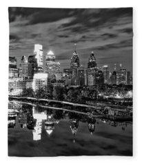 Philadelphia Cityscape Reflection In Black And White Fleece Blanket