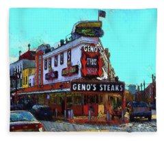 Philadelphia - Genos Steaks Best - Rendoring Fleece Blanket