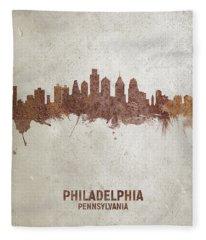 Philadelphia Pennsylvania Rust Skyline Fleece Blanket