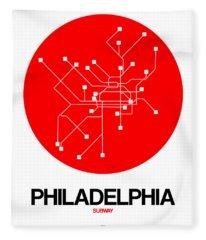 Philadelphia Red Subway Map Fleece Blanket