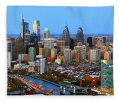 Philadelphia Skyline At Dusk 2018 Fleece Blanket