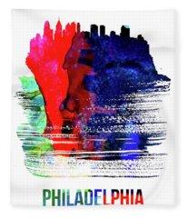 Philadelphia Skyline Brush Stroke Watercolor   Fleece Blanket