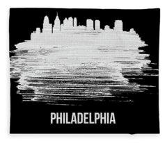 Philadelphia Skyline Brush Stroke White Fleece Blanket