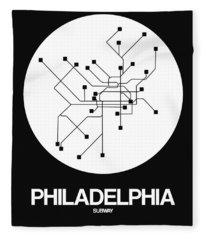 Philadelphia White Subway Map Fleece Blanket