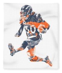 Phillip Lindsay Denver Broncos Pixel Art 2 Fleece Blanket