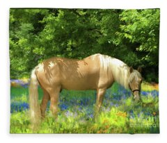 Fleece Blanket featuring the digital art Phoenix In The Lupines by Melinda Hughes-Berland