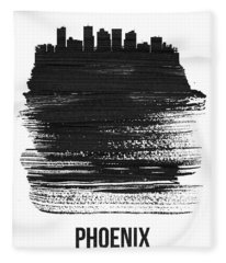 Phoenix Skyline Brush Stroke Black Fleece Blanket