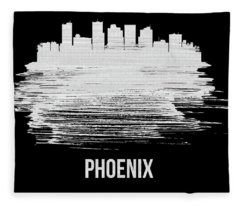 Phoenix Skyline Brush Stroke White Fleece Blanket