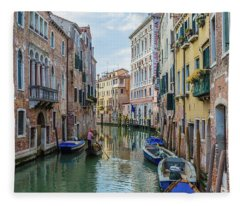 Gondolier On Canal Venice Italy Fleece Blanket