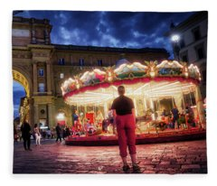 Piazza Della Reppublica At Night In Firenze With Painterly Effects Fleece Blanket