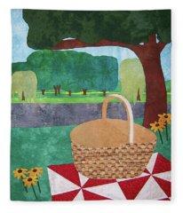 Picnic At Ellis Pond Fleece Blanket