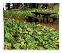 Picnic  Table In The Forest  Fleece Blanket