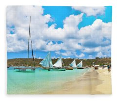 Picture Perfect Day For Sailing In Anguilla Fleece Blanket