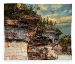 Pictured Rocks Michigan Fleece Blanket